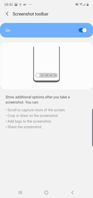 Окно панели инструментов снимка экрана Samsung Note 10