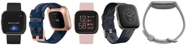 New Fitbit Versa Smartwatch renders showing five units side-by-side.