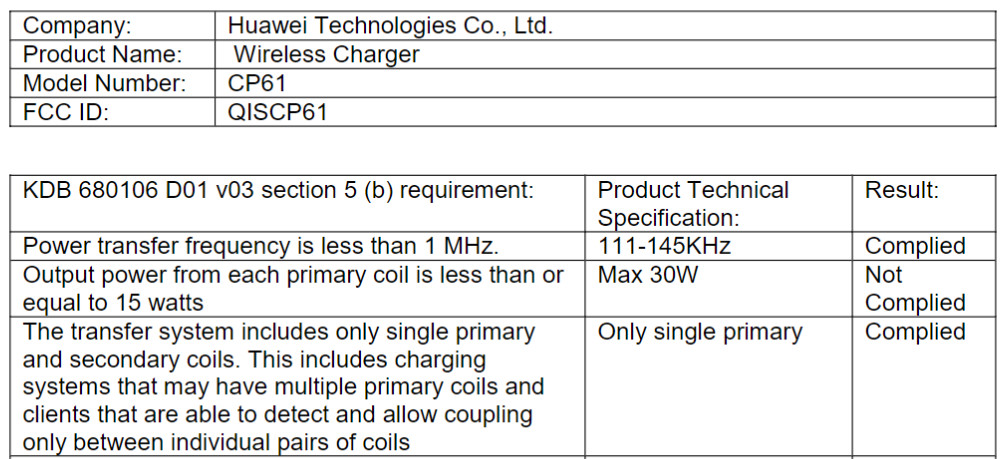 huawei wireless charger 30 watts fcc