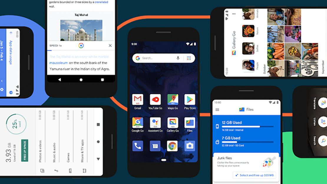 Android Go based on Android 10 collage of smartphones running the operating system