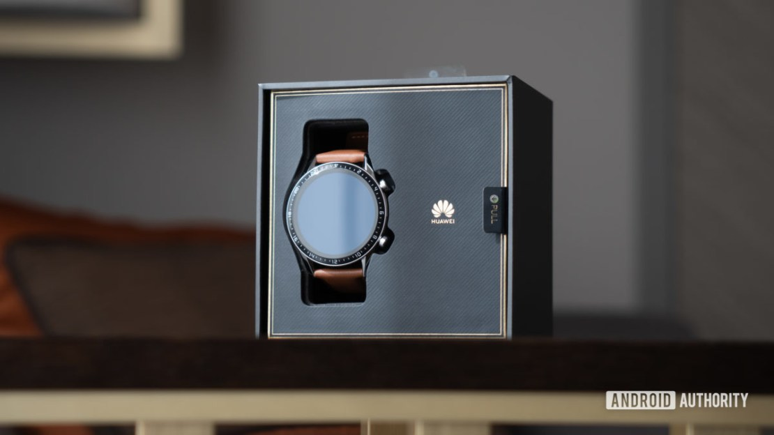 Huawei Watch GT 2 watch in box at angle