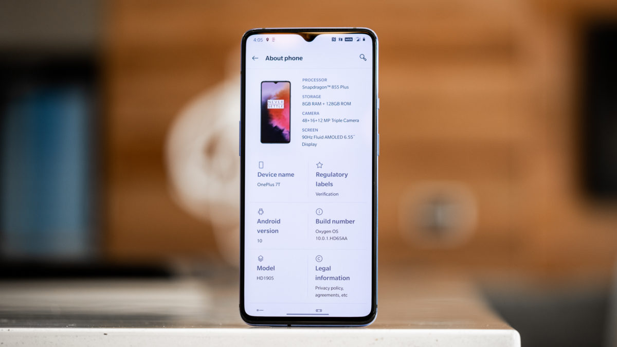 OnePlus 7T specs page on screen