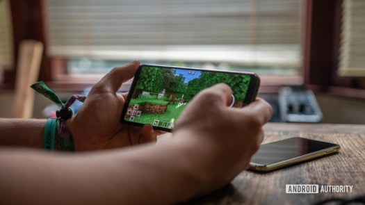 ROG Phone 2 Front shot of gaming playing Minecraft