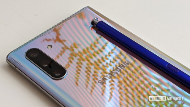 Samsung Galaxy Note 10 camera and logo with S Pen closeup