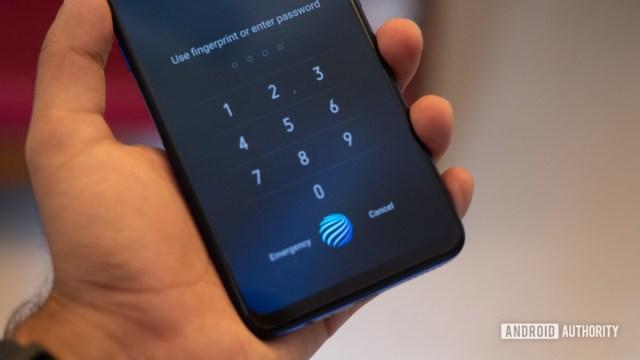 Vivo Z1x showing in display fingerprint sensor