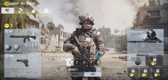 The Call of Duty: Mobile loadout page.