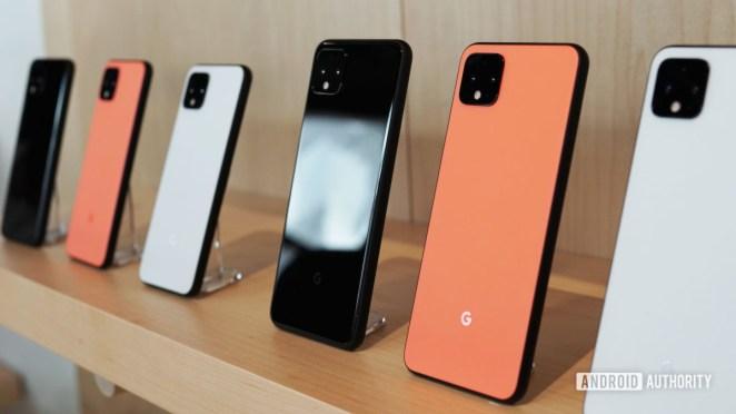 Google Pixel 4 XL colors on a shelf next to Pixel 4 colors