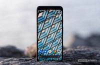 Google Pixel 4 XL home screen standing on rock 15