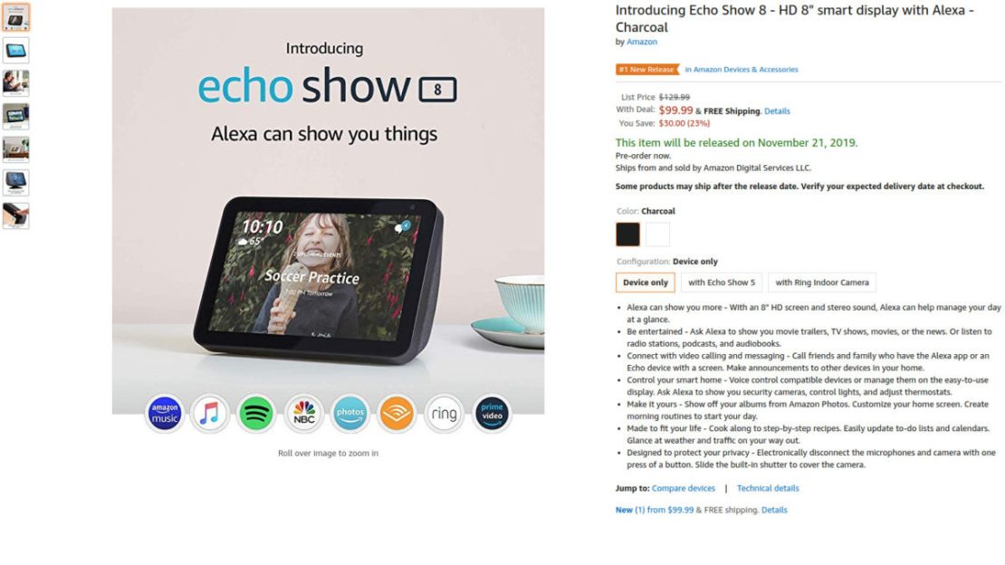 Amazon Echo Show 8 pre order deal