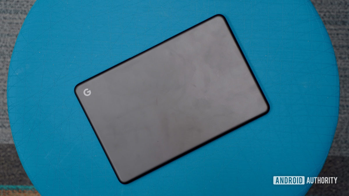 Google Pixelbook Go Review on a blue ottoman