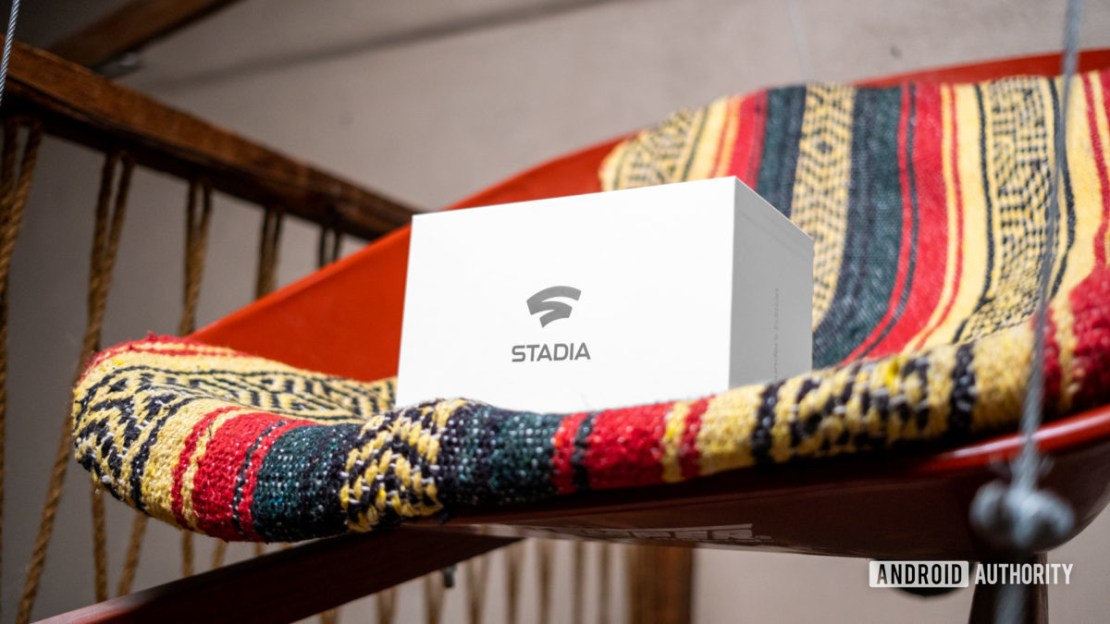 Google Stadia Founders Edition box on carpet at angle
