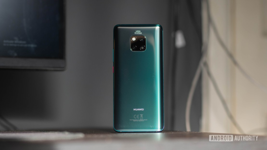 Huawei Mate 20 Pro back side directly on