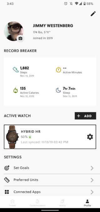 Приложение SmartWatches ископаемого гибрида, как использовать страницу профиля приложения ископаемых часов