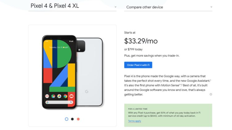 Google Fi's Pixel 4 deal.