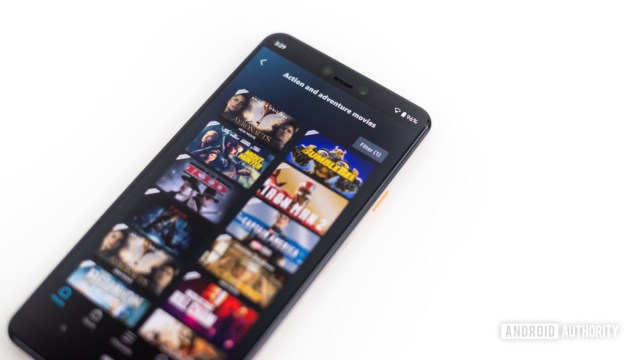 Amazon Prime Video Action and Adventure section shown on smartphone 2