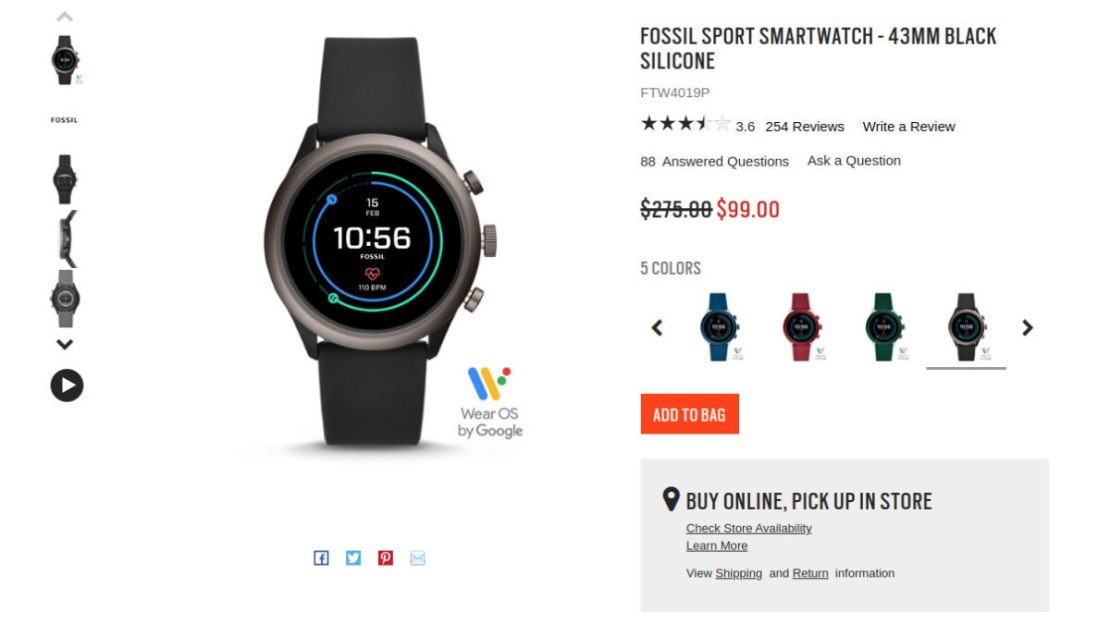 Fossil Sport sale page