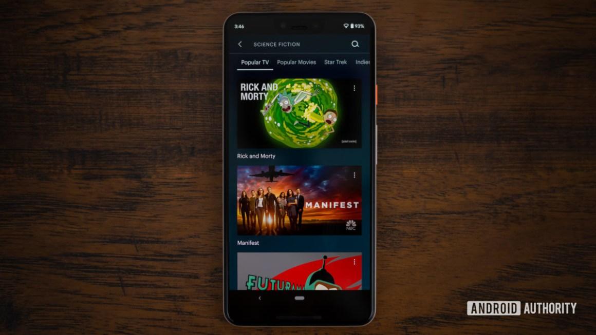 Раздел научной фантастики Hulu отображается на смартфоне