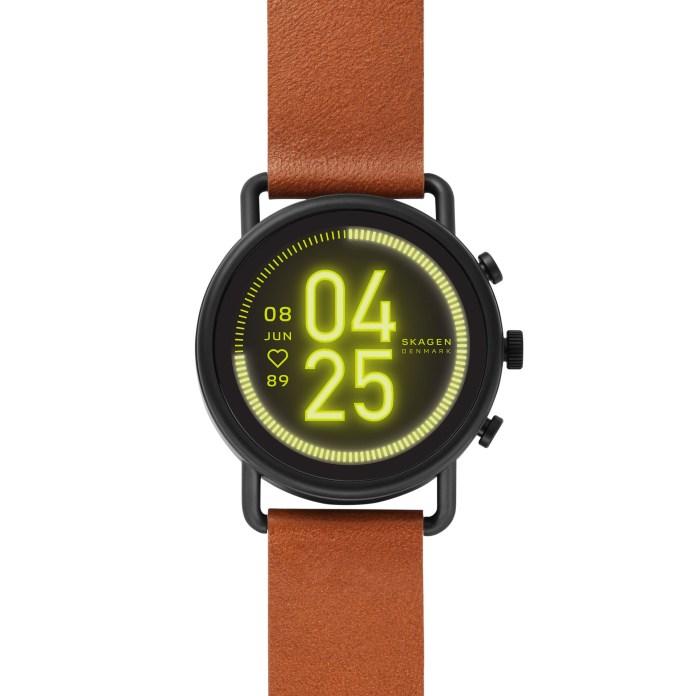 skagen falster 3 wear os smartwatch brown leather