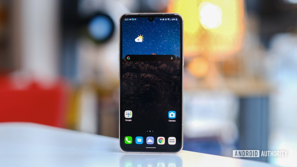 LG V60 screen upright on table