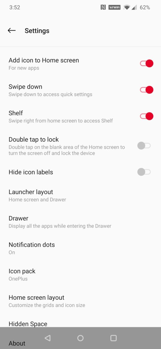 Oxygen OS Home Screen Settings