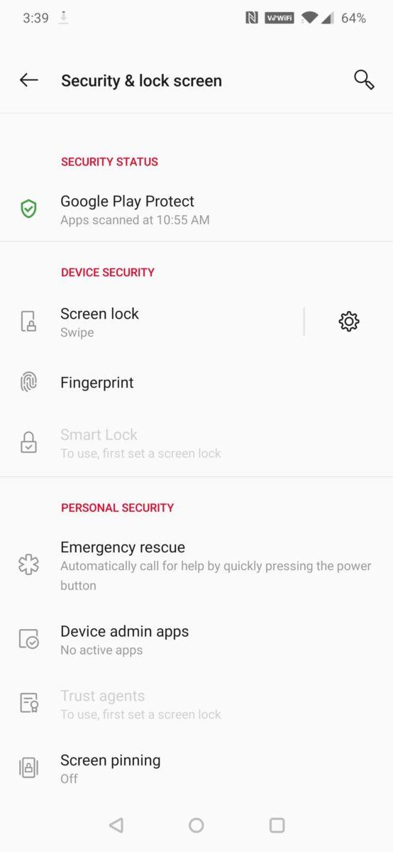 Oxygen OS Lock Screen Settings