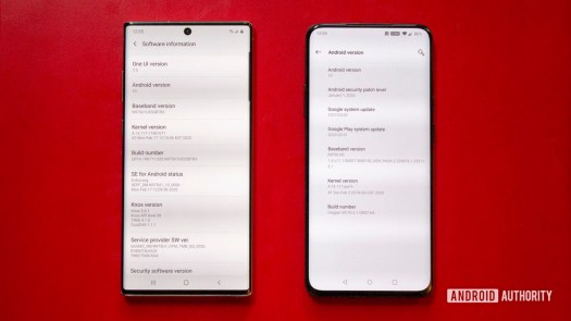 Oxygen OS vs One UI About Screen