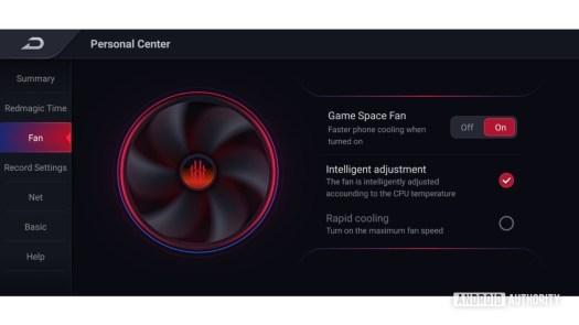 RedMagic 5G fan control screenshot