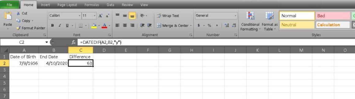рассчитать возраст в Excel 2