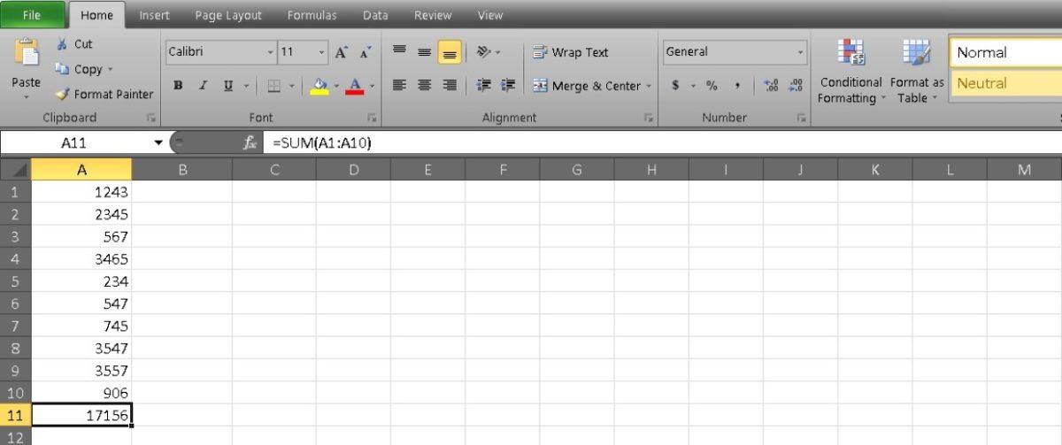 столбец сумм в Excel 4