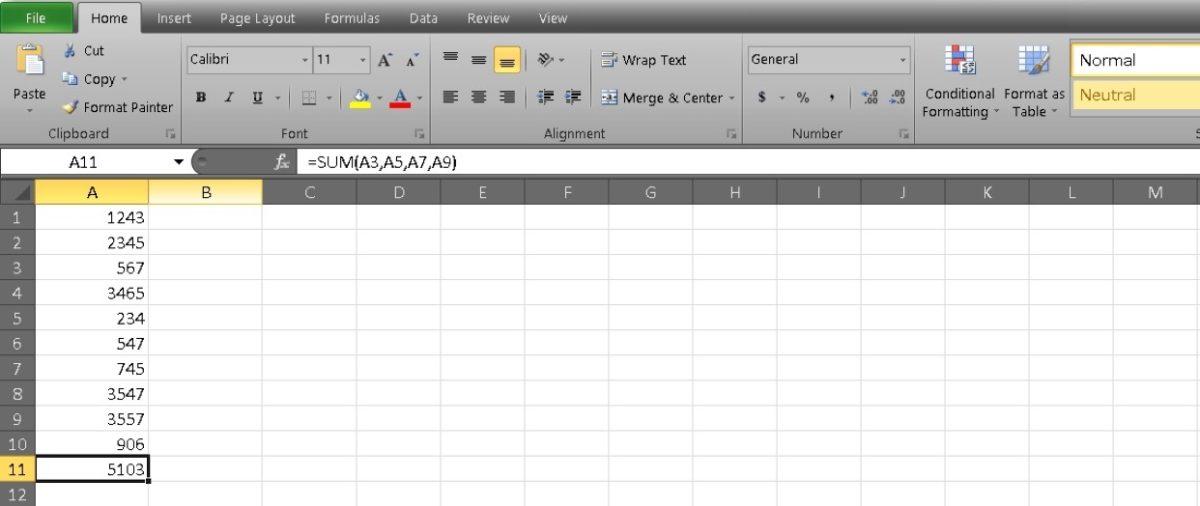 столбец сумм в Excel 5