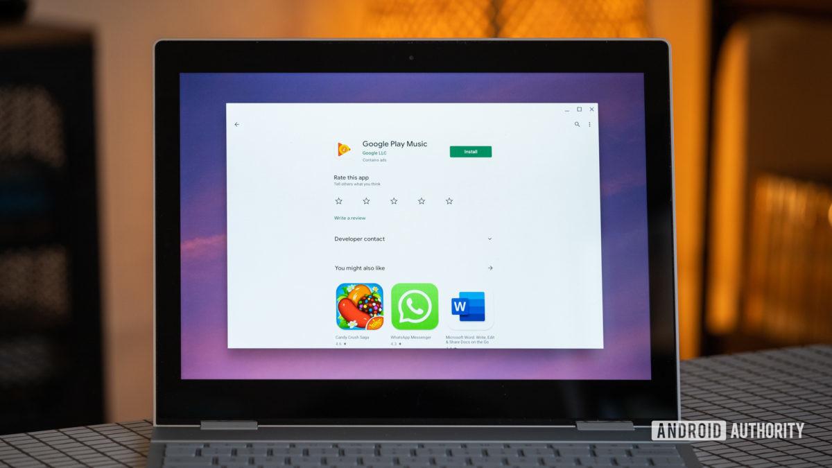 Chromebook загружает музыку Google Play 2