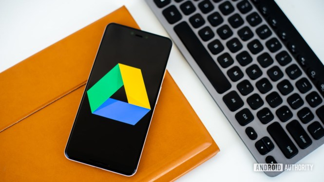 Google Drive logo on smartphone stock photo 2