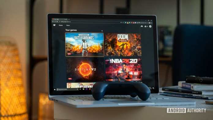 Google Stadia controller on PC with games
