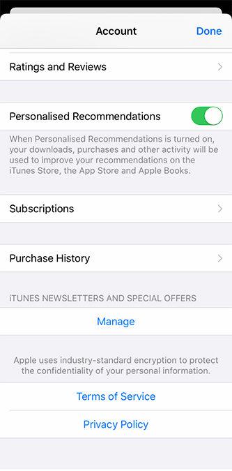 Информация об учетной записи iPhone