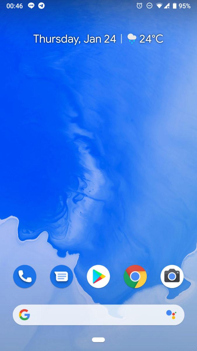 Скриншот домашнего экрана Android 9 Pie