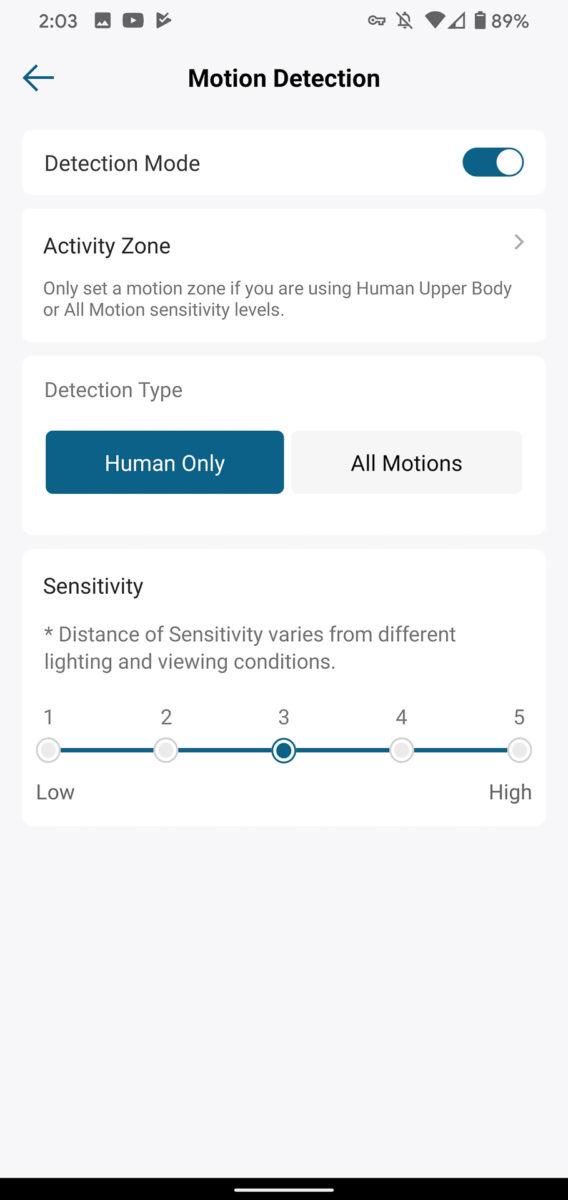 Eufy Video Doorbell обнаружение движения
