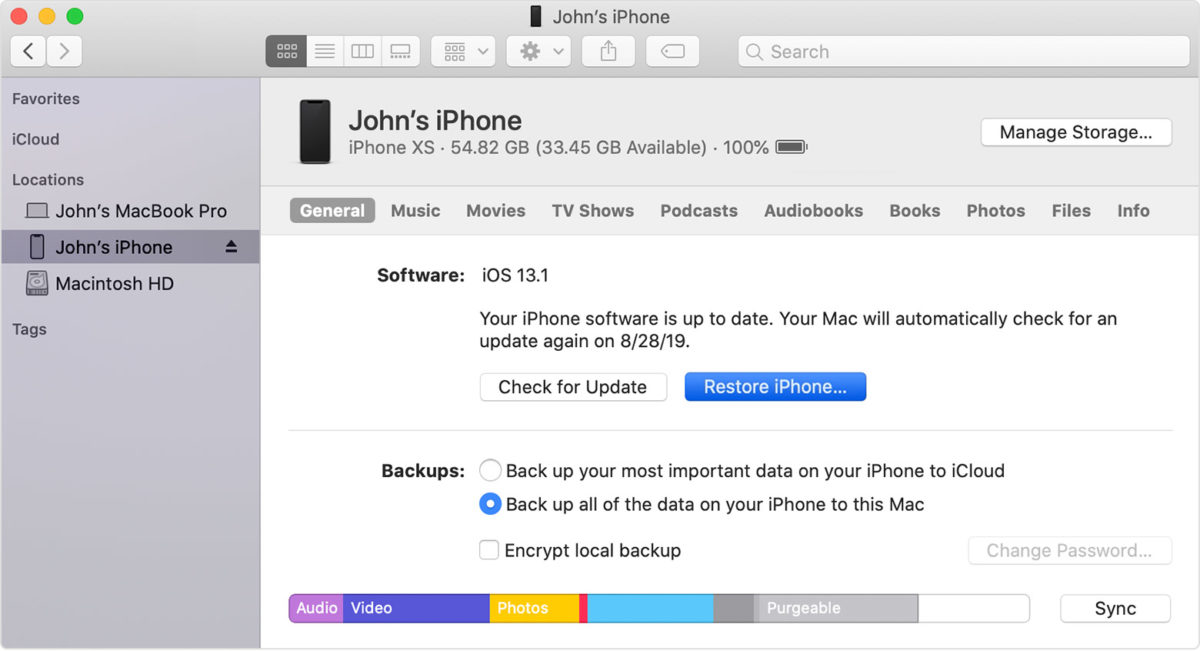 Восстановление заводских настроек iPhone SE Mac