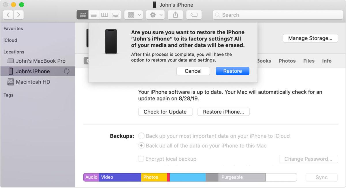 Восстановление заводских настроек iPhone SE Mac 2