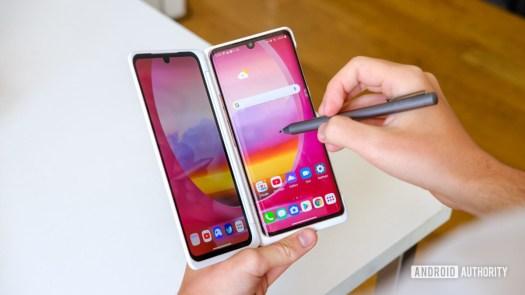 LG Velvet using pen on dual screen 1