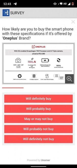 OnePlus Z alleged specs survey