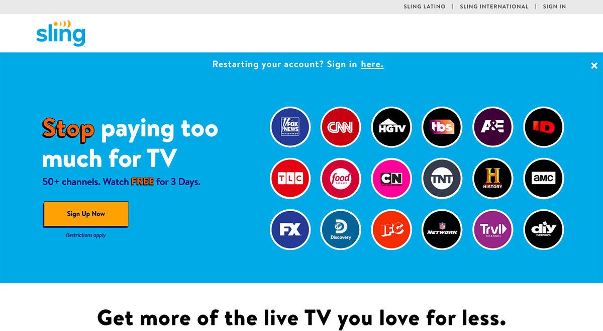 Домашняя страница Sling TV