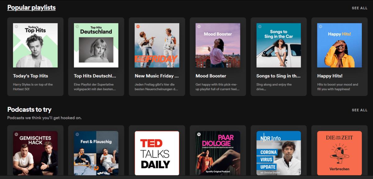 Spotify музыка домашней страницы