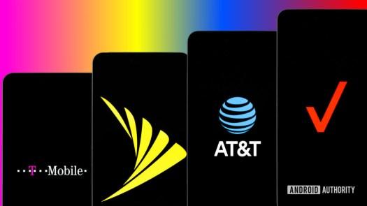 Sprint Verizon T Mobile and Verizon carriers stock photo 2