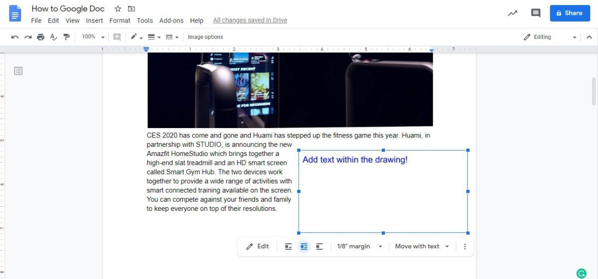 вставить текстовое поле google docs 5
