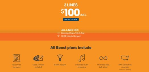 Boost 3 lines for 100 per month