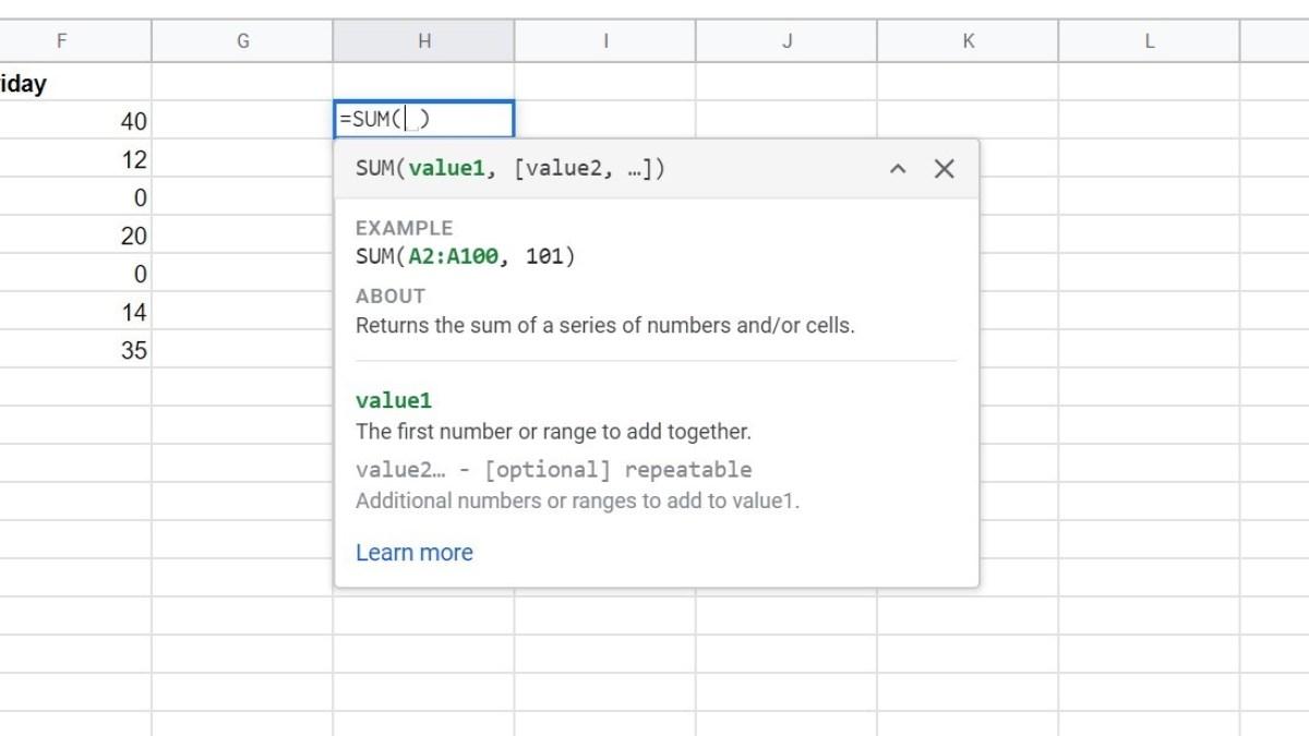 Формулы Google Sheets