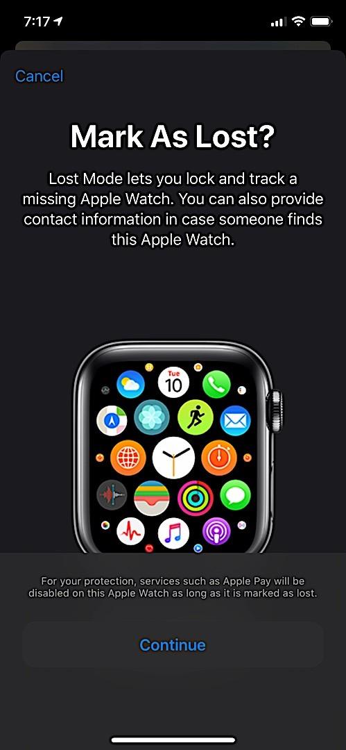 Отметить как потерянный вариант на Apple Watch