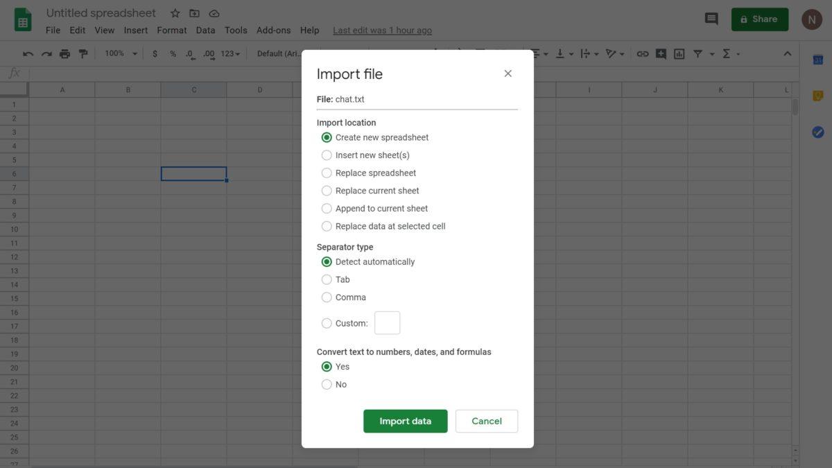 Импорт данных в Google Sheets