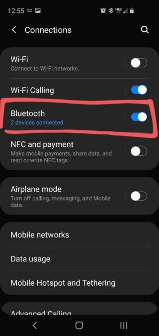 Снимок экрана Samsung Dual Connect с выделенным меню Bluetooth.