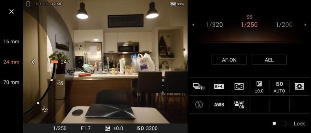 Приложение Sony Xperia 1 II для камеры
